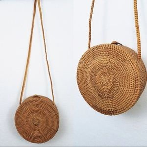 Urban Outfitters Brown Circle Woven Basket Purse